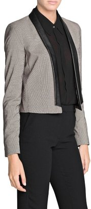 MANGO Outlet Cropped Houndstooth Blazer