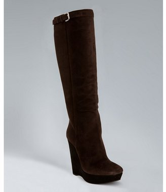 Prada dark brown suede contrast wedge tall boots