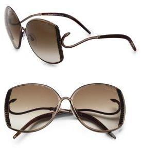 Roberto Cavalli Amaranto Ridged Metal Oversized Square Sunglasses