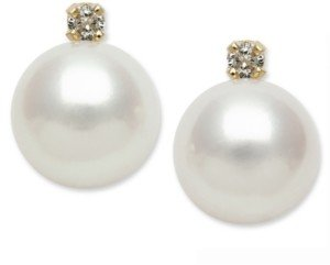 Belle de Mer 14k Gold Earrings, Cultured Freshwater Pearl (7mm) and Diamond Accent Stud Earrings