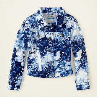 Children's Place Blue floral print denim jacket