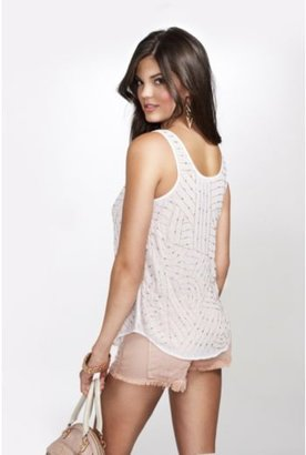 GUESS Sleeveless Beaded Shell Top