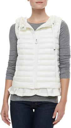 Moncler Hooded Peplum Puffer Vest, White