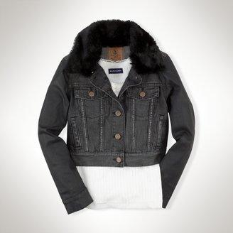 Faux-Fur-Collar Trucker Jacket