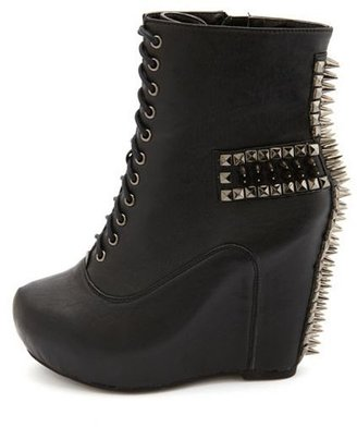 Charlotte Russe Spiked Cross-Back Wedge Bootie
