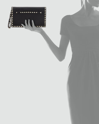 Valentino Rockstud Flap Wristlet Clutch Bag, Black