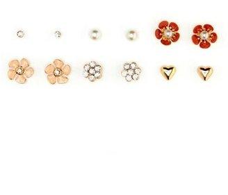 Charlotte Russe Flower, Heart & Pearl Earring Set