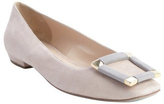 Armani nude and grey suede squared toe buckle detail flats