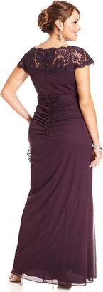 Xscape Evenings Plus Size Dress, Cap-Sleeve Lace Gown