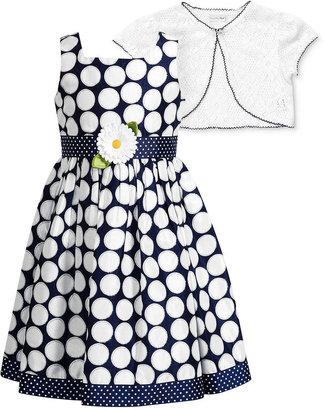 Sweet Heart Rose Little Girls' Polka-Dot Dress & Lace Shrug