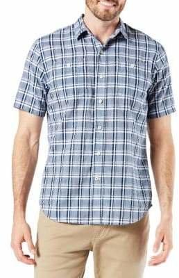 71f0567f Dockers Performance Standard-Fit Short-Sleeve Seersucker Button-Down Shirt