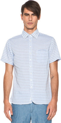 Rag and Bone rag & bone Short Sleeve 3/4 Placket Shirt in Indigo