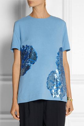 Richard Nicoll Sequin-embellished stretch-crepe top