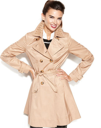 INC International Concepts Coat, Studded Belted Trench Coat