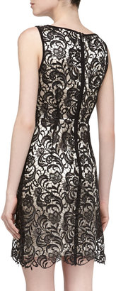 Laundry by Shelli Segal Sleeveless Fit-And-Flare Lace Dress, Black