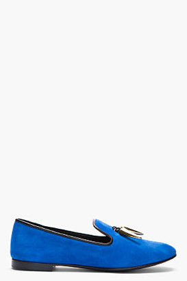 Giuseppe Zanotti Royal blue and gold horn Dalila Suede Loafers