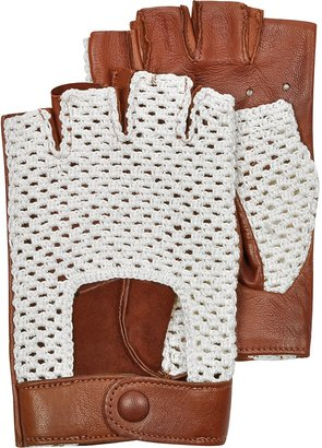 Forzieri Brown Leather and Cotton Men's Driving Gloves