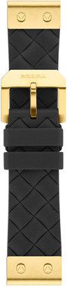 Brera 22mm Black Woven Silicone Strap, Golden