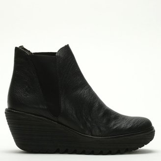 Fly London Woss Black Leather Wedge Ankle Boots