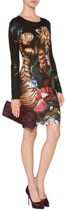 Roberto Cavalli Jersey Graphic Print Dress in Black