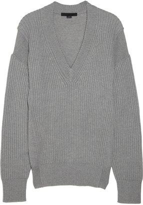 Alexander Wang Paneled fine-knit wool sweater