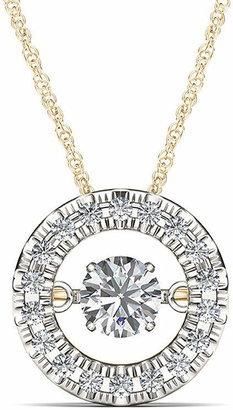 FINE JEWELRY Love in Motion 1/4 CT. T.W. Diamond 10K Yellow Gold Round Pendant Necklace
