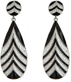 Blu Bijoux Silvertone Chevron Drop Earrings