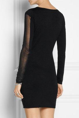 Maje Daisy silk, cotton and cashmere-blend mini dress