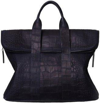 3.1 Phillip Lim Navy Croc Hour Bag