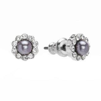 Lauren Conrad silver tone simulated crystal & simulated pearl stud earrings