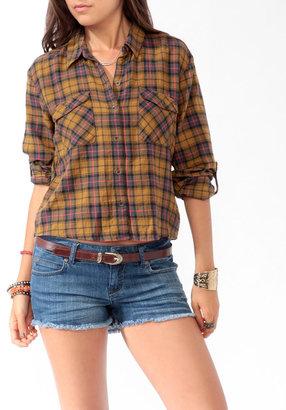 Forever 21 Slit Back Plaid Shirt