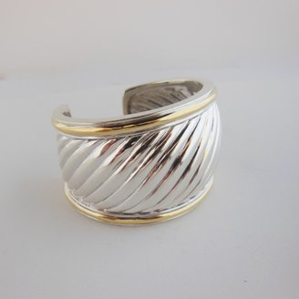 David Yurman excellent (EX Sterling Silver and 18K Gold Wide Sculpted Cable Cuff Bracelet