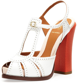 """Fendi Patent Tri-Tone 4 3/4"""" Heel Sandal"""