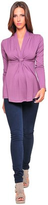 Olian Long Sleeve Front Knot Top - Plum-Plum-X-Large