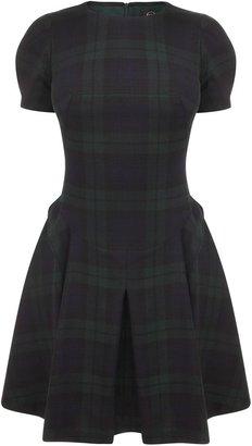 McQ by Alexander McQueen Black Watch Tartan Origami Mini-Dress