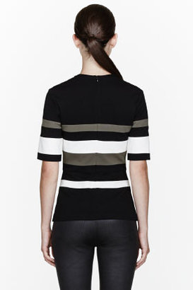 3.1 Phillip Lim Black Ponti Striped Peplum Top