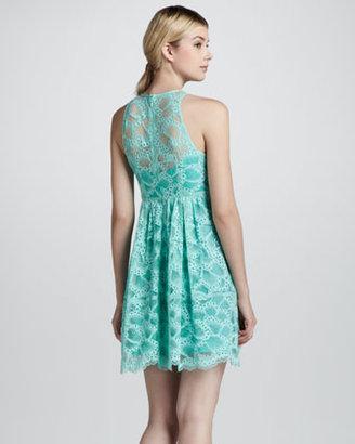 Nanette Lepore Secret Escapes Lace-Overlay Dress, Mint