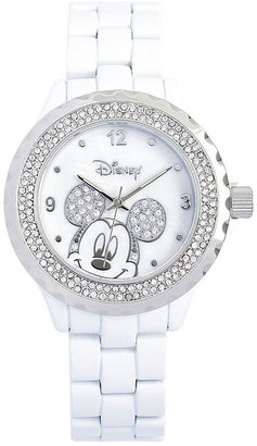 Disney White Enamel Crystal Accent Mickey Watch $40 thestylecure.com