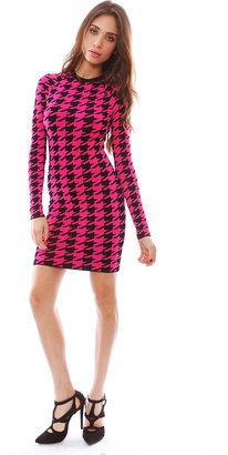 Torn By Ronny Kobo Michaela Oversized Houndstooth Raglan Dress in Black/Pink