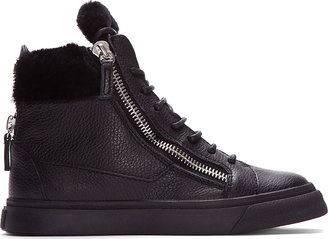 Giuseppe Zanotti Black Leather Shearling-Trimmed Lindos Sneakers