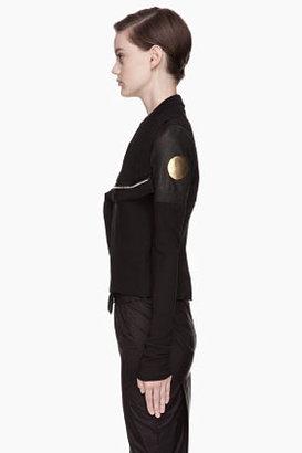 Rick Owens Black leather-trimmed gold Medallion Biker Jacket