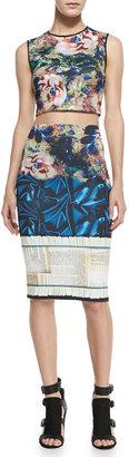 Clover Canyon James Joyce Mixed-Print Pencil Skirt