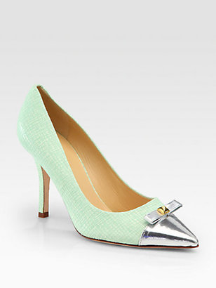 Kate Spade Paloma Embossed Leather & Metallic Bow Pumps