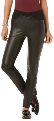 C&C California Faux-Leather Ponte Pants
