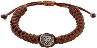 Gucci Leather Crest Bracelet, Brown