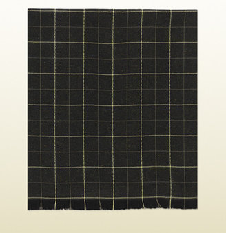 Gucci Check Patterned Wool Scarf