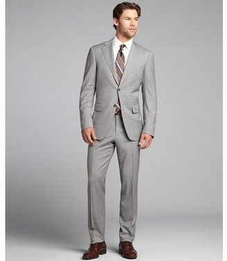 Canali light grey striped wool two-button suit with flat front pants