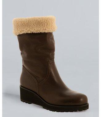 Miu Miu Miu ebony leather faux shearling convertible cuff wedge boots