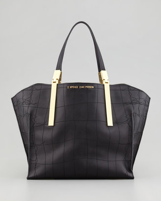 Z Spoke Zac Posen Danes Crocodile-Stitched Leather Shopper, Black
