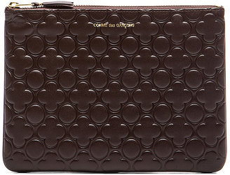 Comme des Garcons Clover Embossed Pouch in Brown   FWRD